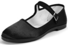 Pandamerica black satin mary jane china doll slippers with black sole, white interior