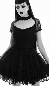Killstar black stretch lace She's in Parties dress with cap sleeves, low neck, layer skirt, lined