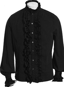 Punk Rave gothic black ruffled mens shirt