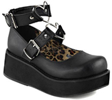 Demonia/Pleaser womens platform mary jane shoe with heart shaped o-ring, studs, leopard print interior