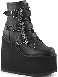 Pleaser black faux leather womens' 20 eye combat boot with straps, 1 1/4 inch heel