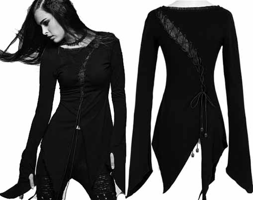 Ipso Facto Long Sleeve Womens Punk Gothic Steampunk Victorian Tops