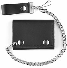 Mascorro Leather trifold leather wallet with snap closure amd attached wallet chain