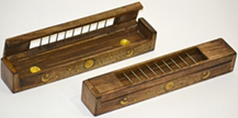 Wooden Tibetan incense burner with flip top