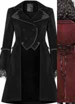 Pyon Pyon velvet gothic lolita womens' cutaway coat with back lacing in black or red