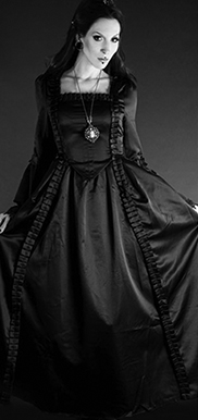 Dracula Clothing long Baroque long sleeve square neck dress