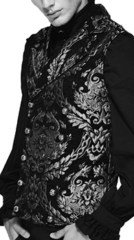 Punk Rave embroidered silver tapestry collared double breasted waistcoat/vest
