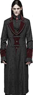 Punk Rave gothic vampire master guys' mid length coat with red collar/cuffs