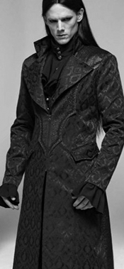 Punk Rave guys' black jacquard mid length coat