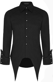 Punk Rave men's black punk long sleeve button up tails shirt