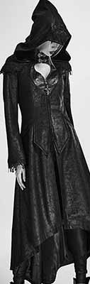 Punk Rave synthetic crackled leather  witchy Nereid ladies' coat with hood