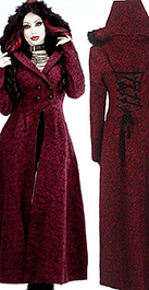 Punk Rave women's red poly wool synthetic fur long Queen of Hearts coat with back lacing, fur trimmed hood.