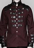 Punk Rave black/burgundy or black Mephisto military style men's shirt  with straps, high neck