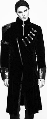 Punk Rave Imperial Guard cotton lined black poly vegan leather asymetric coat with high neck, arm decoration, zipper