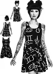 Killstar stretchy black Zodiac Nu skater dress